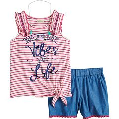 Girls 7-16 Self Esteem Graphic Print Striped Tank Top & Shorts Set with Necklace