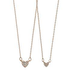 LC Lauren Conrad Simulated Stone Heart Pendant Necklace Set