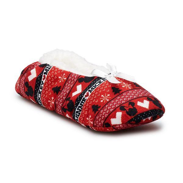 Disney's Mickey Mouse 90th Anniversary Women's Mickey & Minnie Fuzzy Babba  Gripper Slipper Socks
