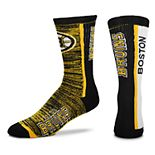 Men's For Bare Feet Boston Bruins Bar Stripe Crew Socks