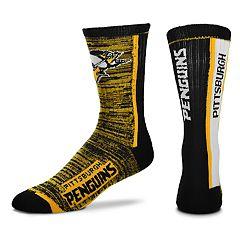 Men's For Bare Feet Pittsburgh Penguins Bar Stripe Crew Socks