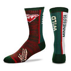 Men's For Bare Feet Minnesota Wild Bar Stripe Crew Socks