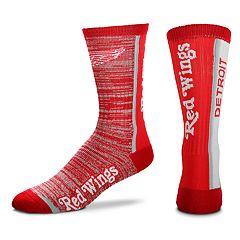 Men's For Bare Feet Detroit Red Wings Bar Stripe Crew Socks