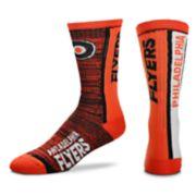 Men's For Bare Feet Philadelphia Flyers Bar Stripe Crew Socks