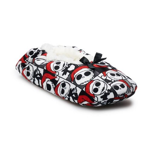 9bd19273ba0 Disney s The Nightmare Before Christmas Women s Jack Skellington Fuzzy  Babba Gripper Slipper Socks