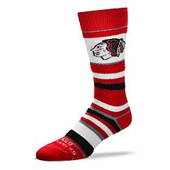 Men's For Bare Feet Chicago Blackhawks Striped Crew Socks