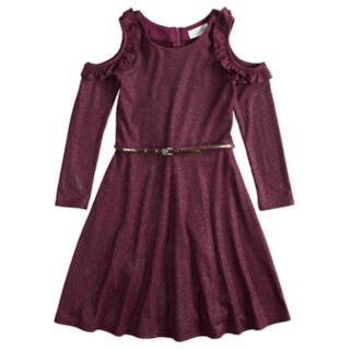Girls' 7-16 Lavender Ruffle Cold-Shoulder Knit Dress