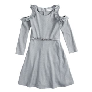 Girls' 7-16 Lavender Ruffle Cold-Shoulder Knit Dress