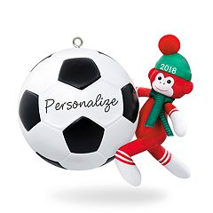 Soccer Star Sock Monkey Personalization 2018 Hallmark Keepsake Christmas Ornament