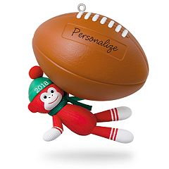Football Star Sock Monkey Personalization 2018 Hallmark Keepsake Christmas Ornament