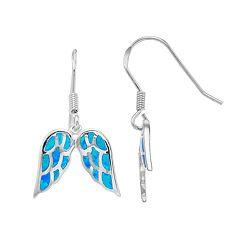 Sterling Silver Lab-Created Blue Opal Angel Wing Earrings