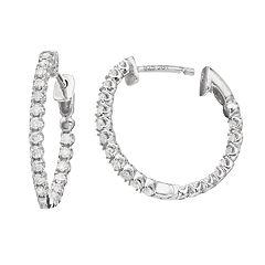 Sterling Silver 1/2 Carat T.W. Hoop Earrings