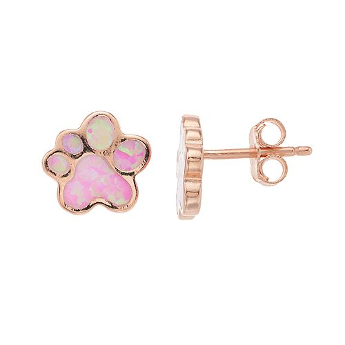 3b61a26a9 14k Rose Gold Over Silver Lab-Created Pink Opal Paw Print Stud ...