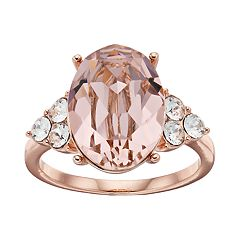 14k Rose Gold Plated Vintage Rose Crystal Oval Ring