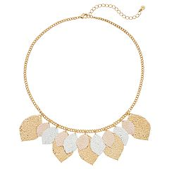 LC Lauren Conrad Tri Tone Leaf Necklace