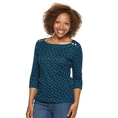 Petite Croft & Barrow® Button-Shoulder Boatneck Top