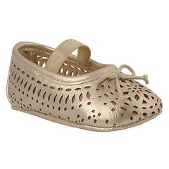 Baby Girl Wee Kids Champagne Cut-Out Ballet Slipper Crib Shoes