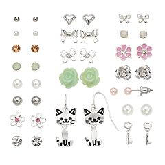 Mudd® Cat, Flower & Bow Earring Set