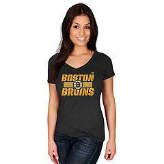 Women's Majestic Boston Bruins Stick To Stick Tee