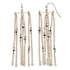 LC Lauren Conrad Beaded Chain Nickel Free Drop Earrings