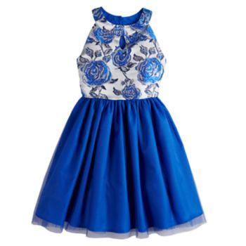 Girls 7-14 Lavender Floral Lurex Tulle Dress