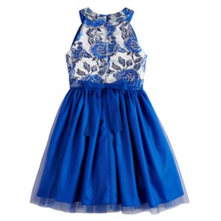 Girls 7-14 Lavender Floral Lurex Tulle Dress