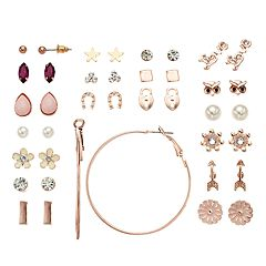 Mudd® Simulated Pearl, Flower, Arrow & Owl Earring Set