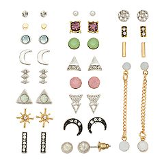 Mudd® Simulated Crystal, Crescent & Triangle Earring Set