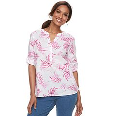 Women's Croft & Barrow® Print Roll-Tab Henley Top