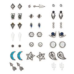 Mudd® Moon, Star, Cactus & Leaf Stud Earring Set