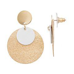 LC Lauren Conrad Nickel Free Two Tone Disc Drop Earrings