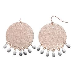 LC Lauren Conrad Two Tone Nickel Free Disc Drop Earrings
