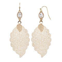 LC Lauren Conrad Nickel Free Filigree Leaf Drop Earrings