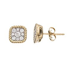 10k Gold Plated Sterling Silver 1/2 Carat T.W. Diamond Cluster Stud Earrings
