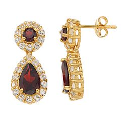 14k Gold Over Silver Garnet & White Topaz Teardrop Halo Earrings