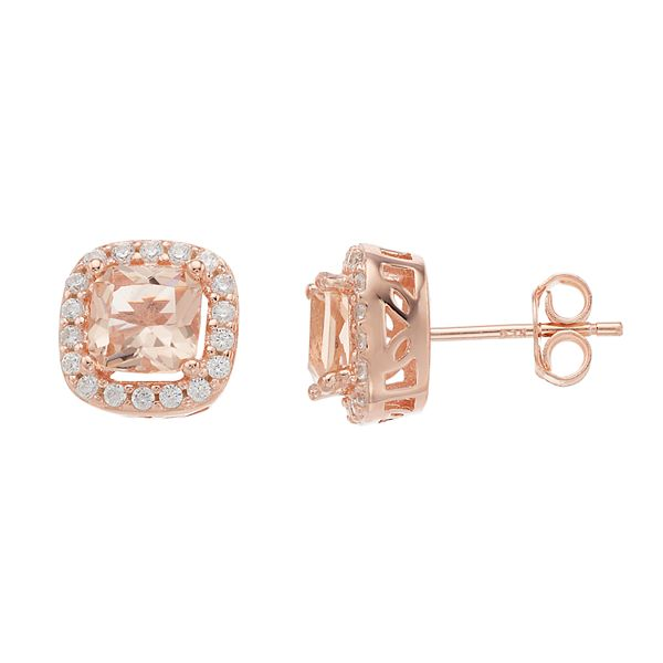 14k Rose Gold Over Silver Pink White Cubic Zirconia Cushion Halo Stud Earrings