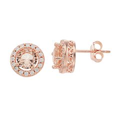 14k Rose Gold Over Silver Pink & White Cubic Zirconia Halo Stud Earrings