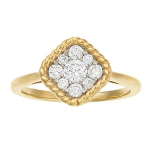 Sterling Silver 10k Gold Plated 1/2 Carat T.W. Diamond Cluster Ring