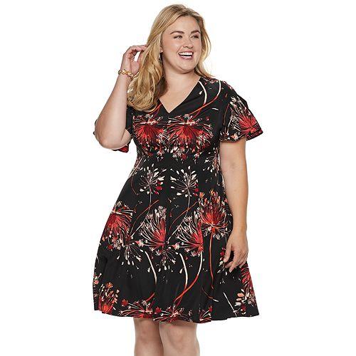 fab67e904d3 Plus Size Suite 7 Print Fit   Flare Dress
