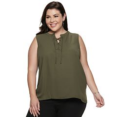 Plus Size Apt. 9® Lace-Up Georgette Tank