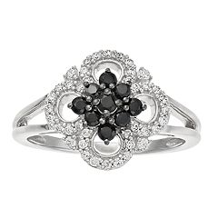 Sterling Silver Clover 1/2 Carat T.W. Diamond Ring