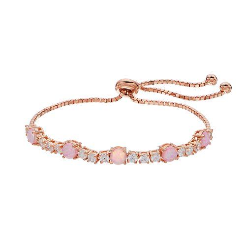 14k Rose Gold Over Silver Lab-Created Pink Opal Bolo Bracelet