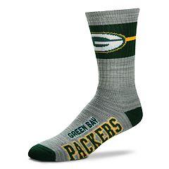 Men's For Bare Feet Green Bay Packers Deuce Band Crew Socks