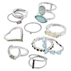 Mudd® Simulated Opal Ring Set