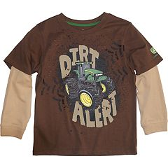 Boys 4-7 John Deere Mock Layer 'Dirt Alert' Graphic Tee