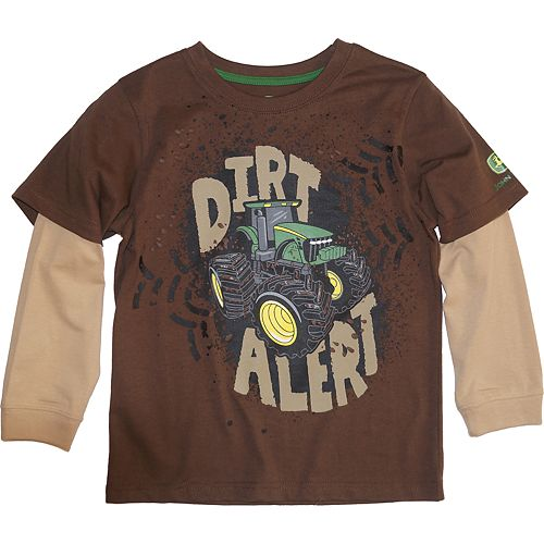 "Boys 4-7 John Deere Mock Layer ""Dirt Alert"" Graphic Tee"