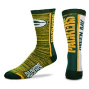 Men's For Bare Feet Green Bay Packers Crew Cut Socks