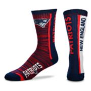 Men's For Bare Feet New England Patriots Bar Stripe Crew Socks