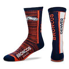 Men's For Bare Feet Denver Broncos Bar Stripe Crew Socks