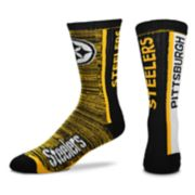 Men's For Bare Feet Pittsburgh Steelers Bar Stripe Crew Socks